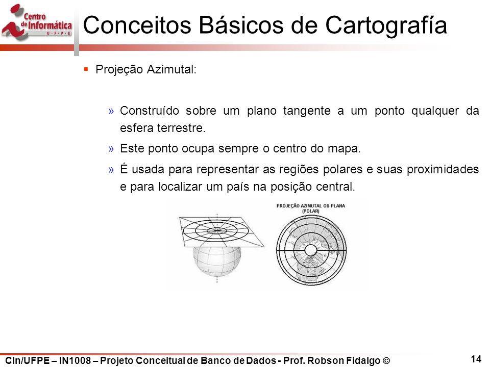 CIn/UFPE – IN1008 – Projeto Conceitual de Banco de Dados - Prof. Robson Fidalgo  14 Conceitos Básicos de Cartografía  Projeção Azimutal: »Construído