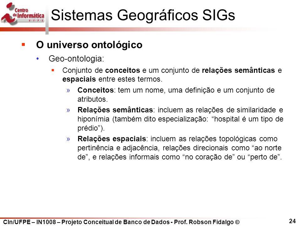 CIn/UFPE – IN1008 – Projeto Conceitual de Banco de Dados - Prof. Robson Fidalgo  24 Sistemas Geográficos SIGs  O universo ontológico Geo-ontologia: