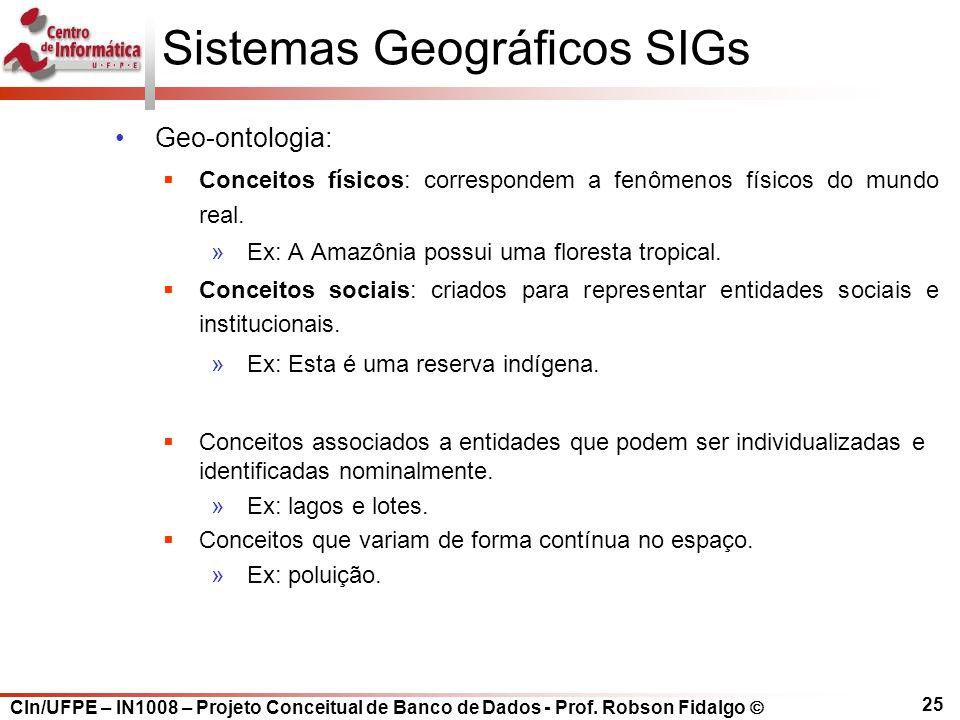 CIn/UFPE – IN1008 – Projeto Conceitual de Banco de Dados - Prof. Robson Fidalgo  25 Sistemas Geográficos SIGs Geo-ontologia:  Conceitos físicos: cor