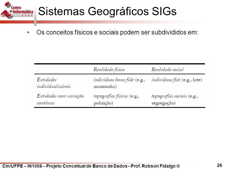 CIn/UFPE – IN1008 – Projeto Conceitual de Banco de Dados - Prof. Robson Fidalgo  26 Sistemas Geográficos SIGs Os conceitos físicos e sociais podem se