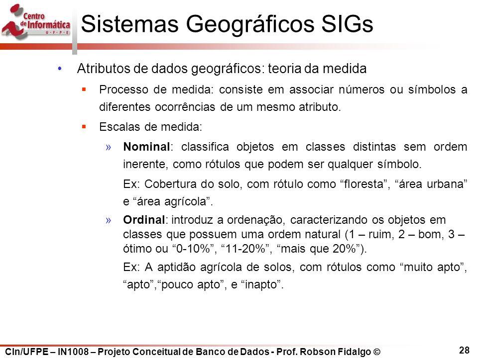 CIn/UFPE – IN1008 – Projeto Conceitual de Banco de Dados - Prof. Robson Fidalgo  28 Sistemas Geográficos SIGs Atributos de dados geográficos: teoria
