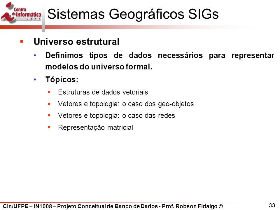 CIn/UFPE – IN1008 – Projeto Conceitual de Banco de Dados - Prof. Robson Fidalgo  33 Sistemas Geográficos SIGs  Universo estrutural Definimos tipos d