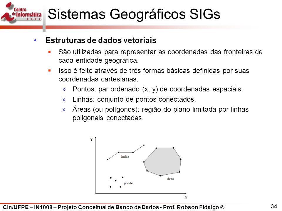 CIn/UFPE – IN1008 – Projeto Conceitual de Banco de Dados - Prof. Robson Fidalgo  34 Sistemas Geográficos SIGs Estruturas de dados vetoriais  São uti