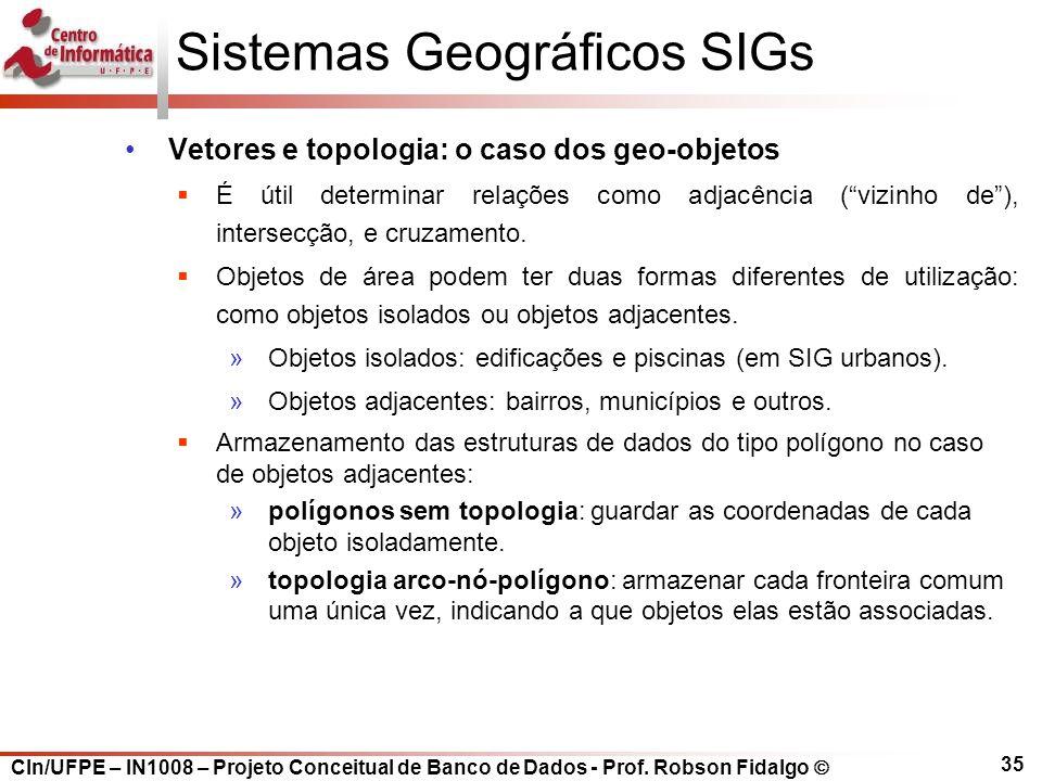 CIn/UFPE – IN1008 – Projeto Conceitual de Banco de Dados - Prof. Robson Fidalgo  35 Sistemas Geográficos SIGs Vetores e topologia: o caso dos geo-obj