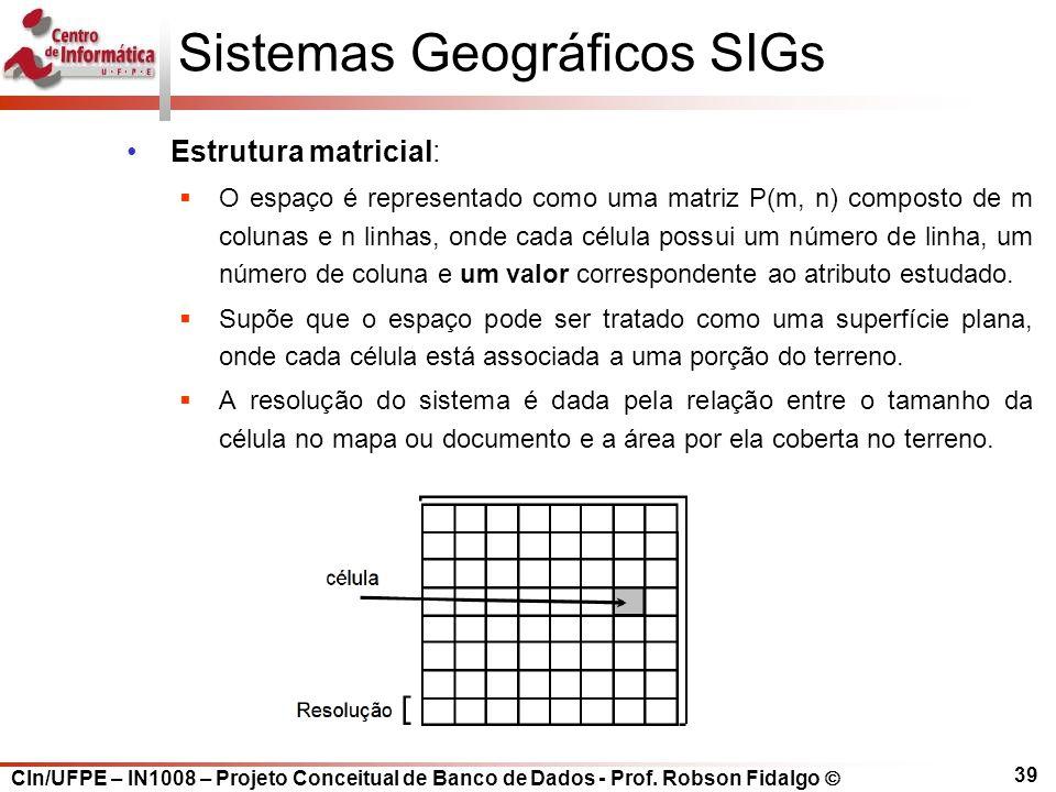 CIn/UFPE – IN1008 – Projeto Conceitual de Banco de Dados - Prof. Robson Fidalgo  39 Sistemas Geográficos SIGs Estrutura matricial:  O espaço é repre