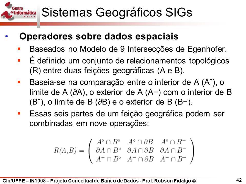 CIn/UFPE – IN1008 – Projeto Conceitual de Banco de Dados - Prof. Robson Fidalgo  42 Sistemas Geográficos SIGs Operadores sobre dados espaciais  Base