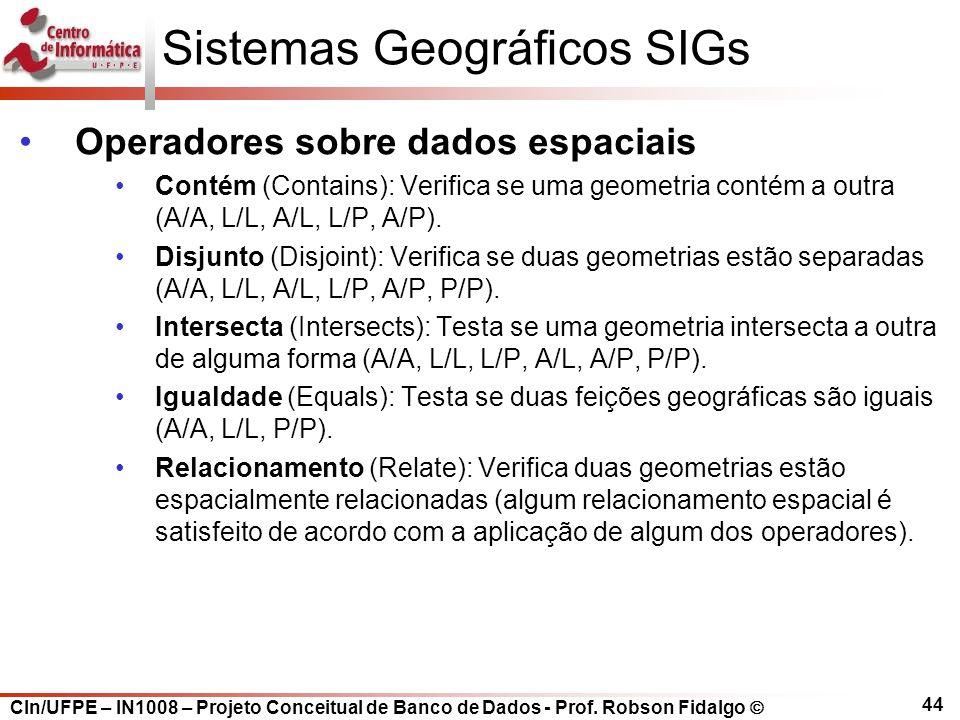 CIn/UFPE – IN1008 – Projeto Conceitual de Banco de Dados - Prof. Robson Fidalgo  44 Sistemas Geográficos SIGs Operadores sobre dados espaciais Contém