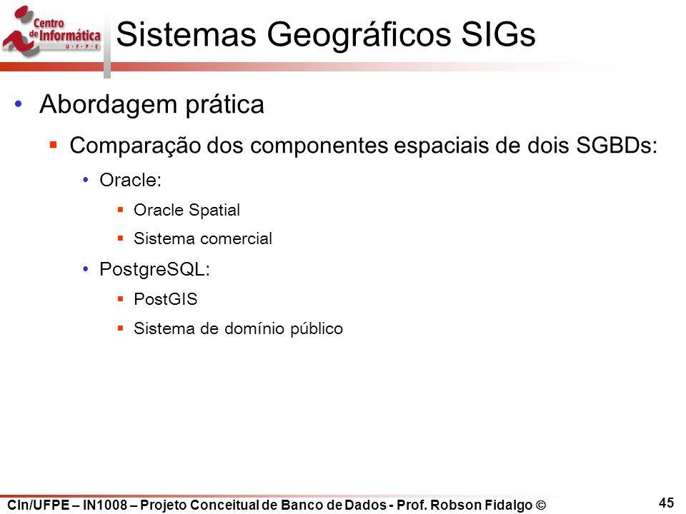 CIn/UFPE – IN1008 – Projeto Conceitual de Banco de Dados - Prof. Robson Fidalgo  45 Sistemas Geográficos SIGs Abordagem prática  Comparação dos comp