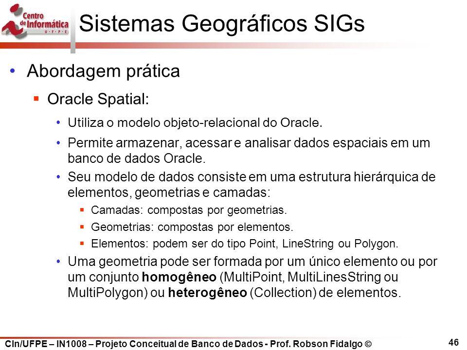 CIn/UFPE – IN1008 – Projeto Conceitual de Banco de Dados - Prof. Robson Fidalgo  46 Sistemas Geográficos SIGs Abordagem prática  Oracle Spatial: Uti
