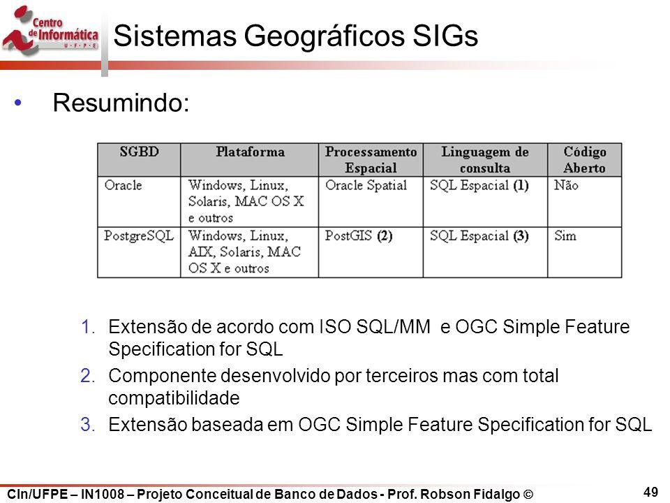 CIn/UFPE – IN1008 – Projeto Conceitual de Banco de Dados - Prof. Robson Fidalgo  49 Sistemas Geográficos SIGs Resumindo: 1.Extensão de acordo com ISO