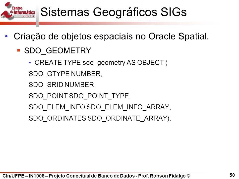 CIn/UFPE – IN1008 – Projeto Conceitual de Banco de Dados - Prof. Robson Fidalgo  50 Sistemas Geográficos SIGs Criação de objetos espaciais no Oracle