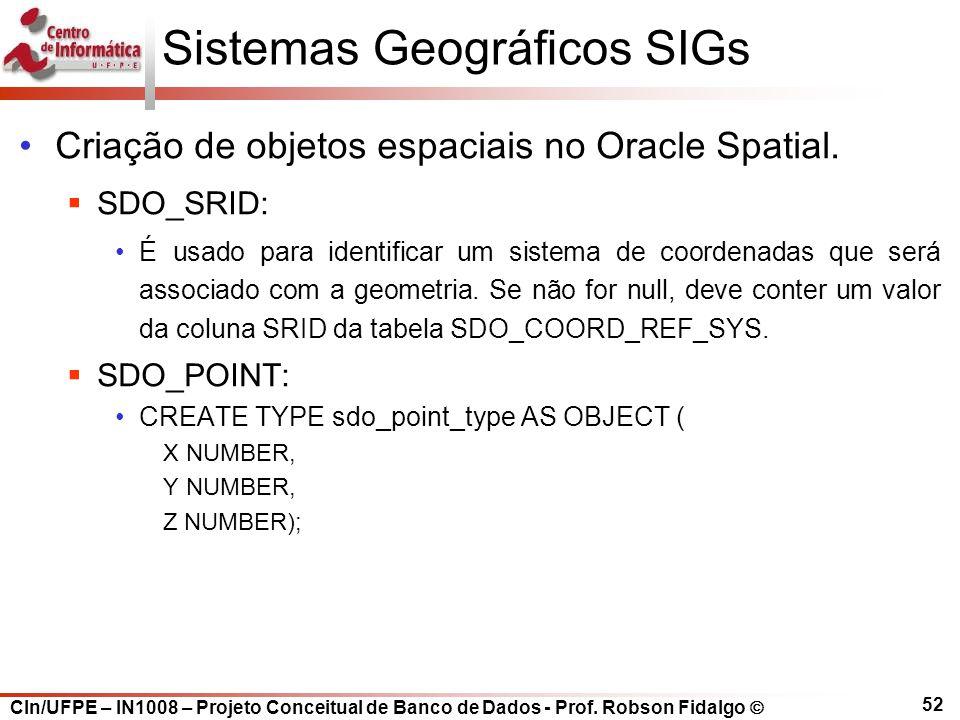 CIn/UFPE – IN1008 – Projeto Conceitual de Banco de Dados - Prof. Robson Fidalgo  52 Sistemas Geográficos SIGs Criação de objetos espaciais no Oracle