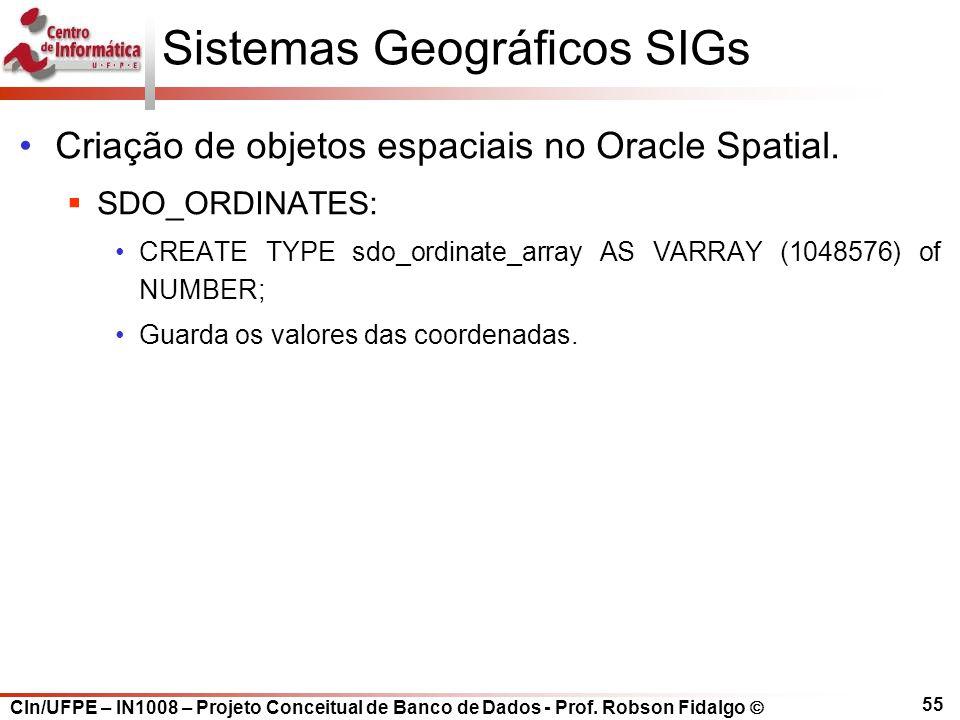 CIn/UFPE – IN1008 – Projeto Conceitual de Banco de Dados - Prof. Robson Fidalgo  55 Sistemas Geográficos SIGs Criação de objetos espaciais no Oracle