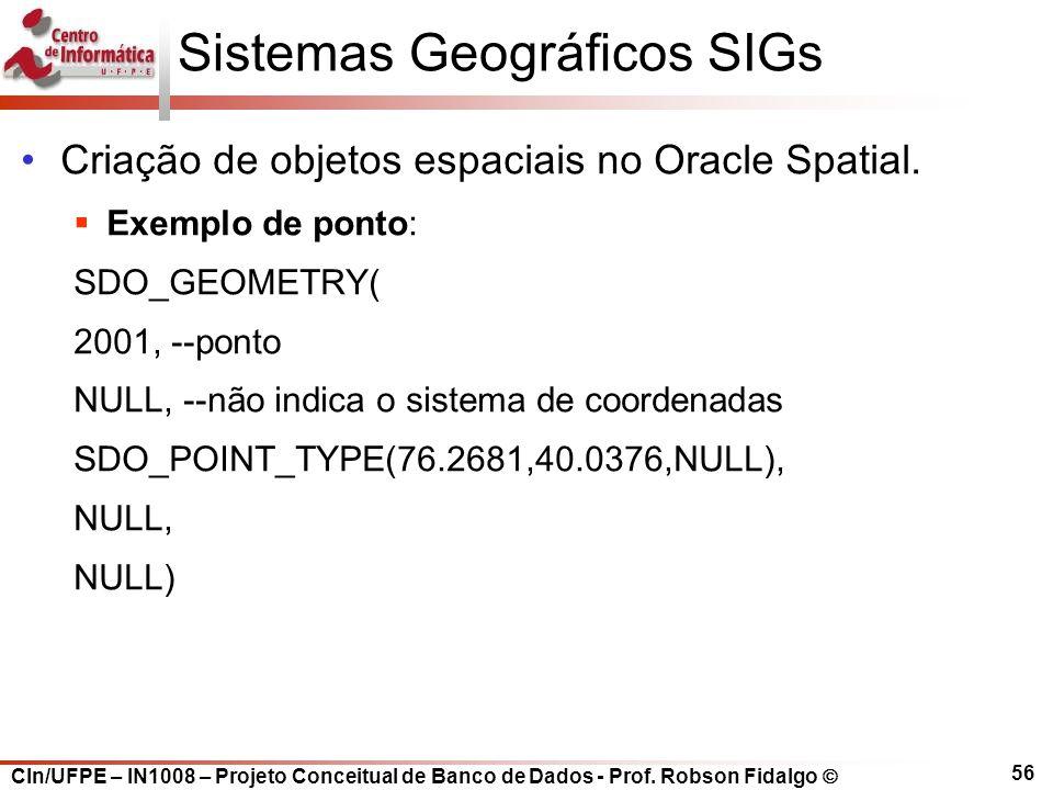 CIn/UFPE – IN1008 – Projeto Conceitual de Banco de Dados - Prof. Robson Fidalgo  56 Sistemas Geográficos SIGs Criação de objetos espaciais no Oracle