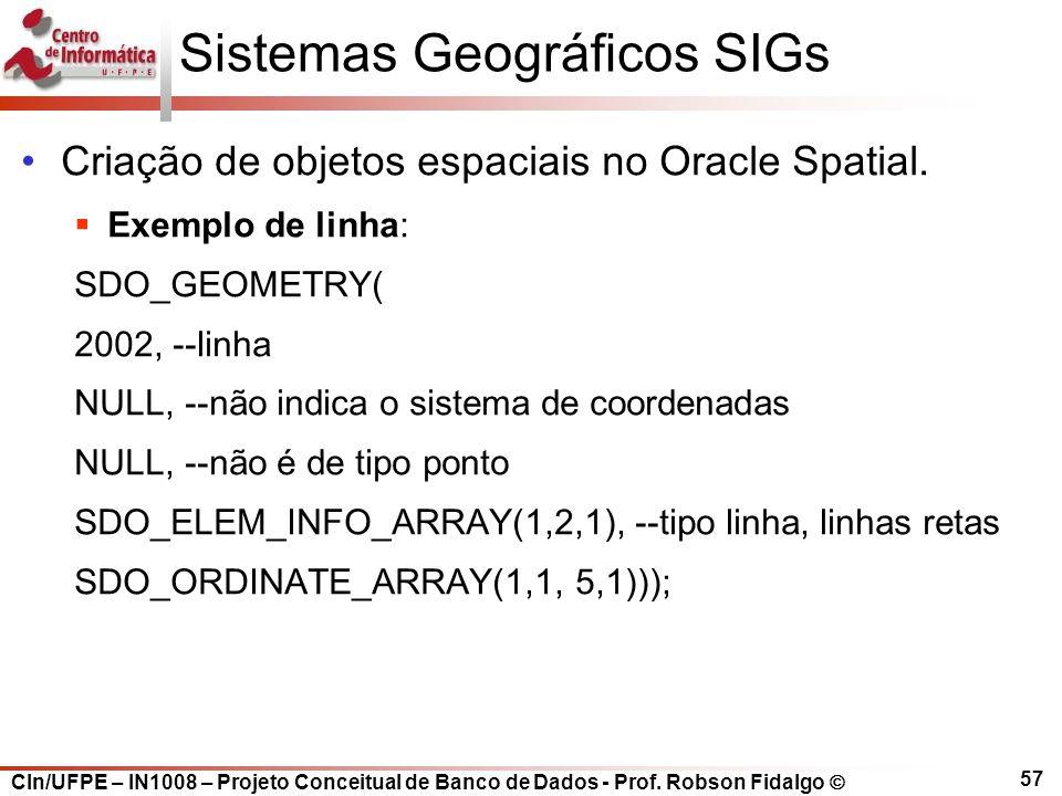 CIn/UFPE – IN1008 – Projeto Conceitual de Banco de Dados - Prof. Robson Fidalgo  57 Sistemas Geográficos SIGs Criação de objetos espaciais no Oracle