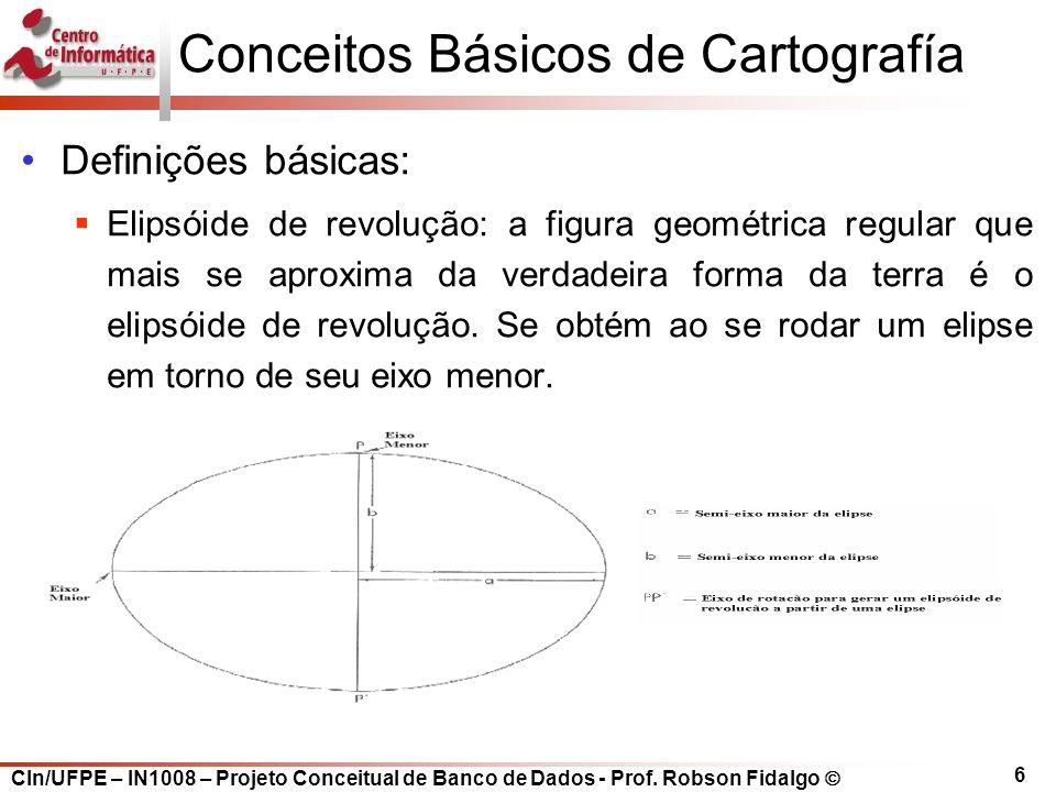 CIn/UFPE – IN1008 – Projeto Conceitual de Banco de Dados - Prof. Robson Fidalgo  6 Conceitos Básicos de Cartografía Definições básicas:  Elipsóide d