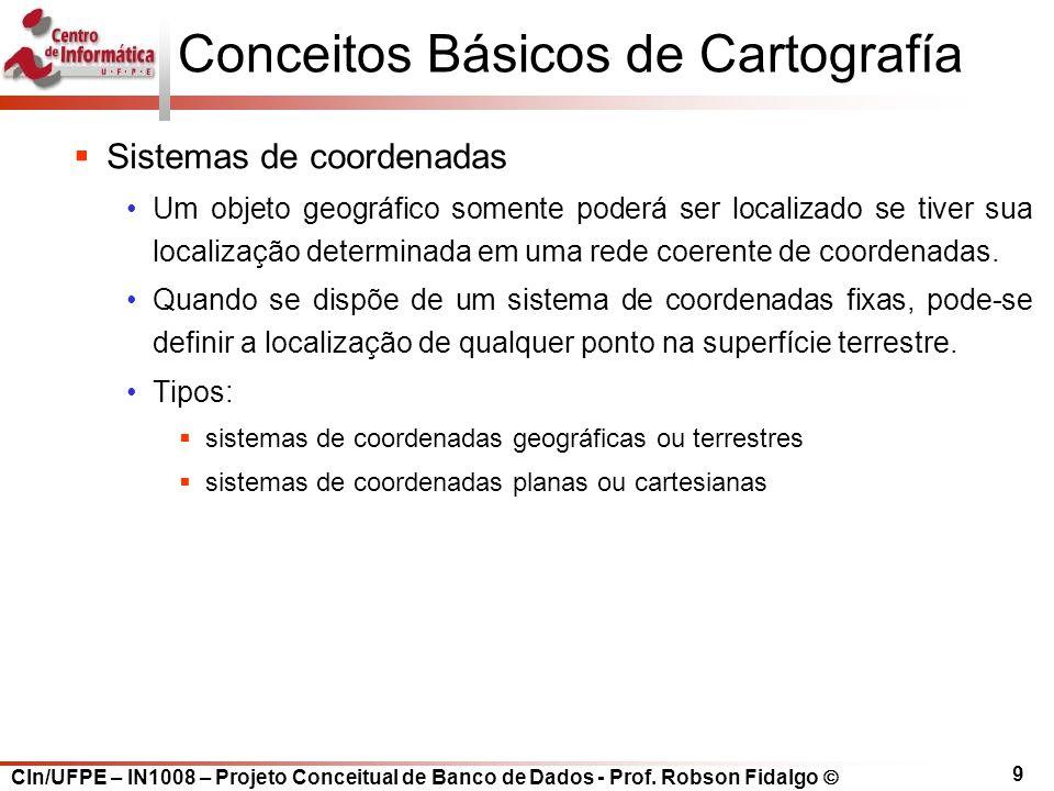 CIn/UFPE – IN1008 – Projeto Conceitual de Banco de Dados - Prof. Robson Fidalgo  9 Conceitos Básicos de Cartografía  Sistemas de coordenadas Um obje