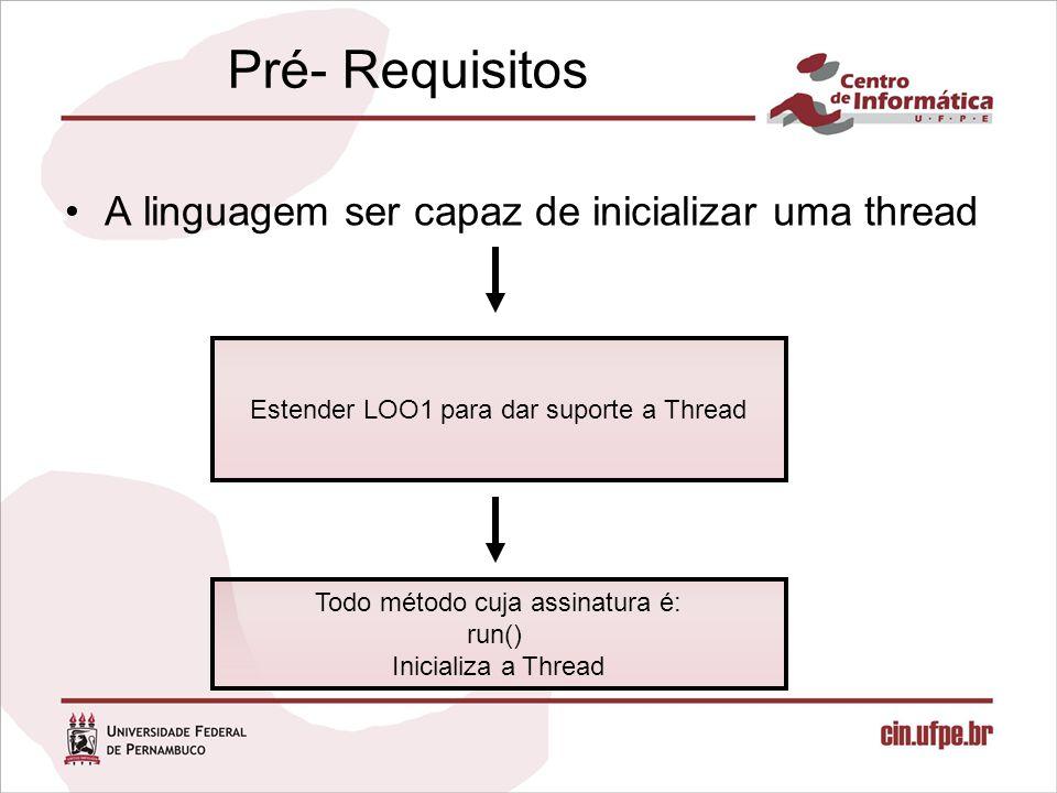 Pré- Requisitos A linguagem ser capaz de inicializar uma thread Estender LOO1 para dar suporte a Thread Todo método cuja assinatura é: run() Inicializa a Thread