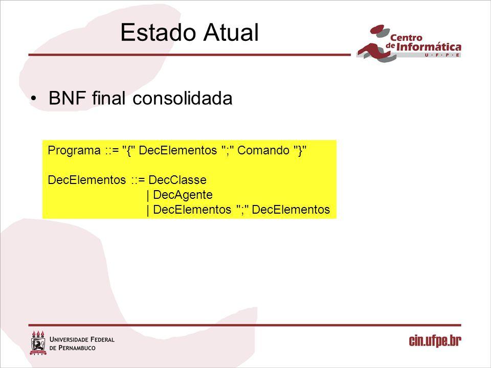 Estado Atual BNF final consolidada Programa ::= { DecElementos ; Comando } DecElementos ::= DecClasse | DecAgente | DecElementos ; DecElementos