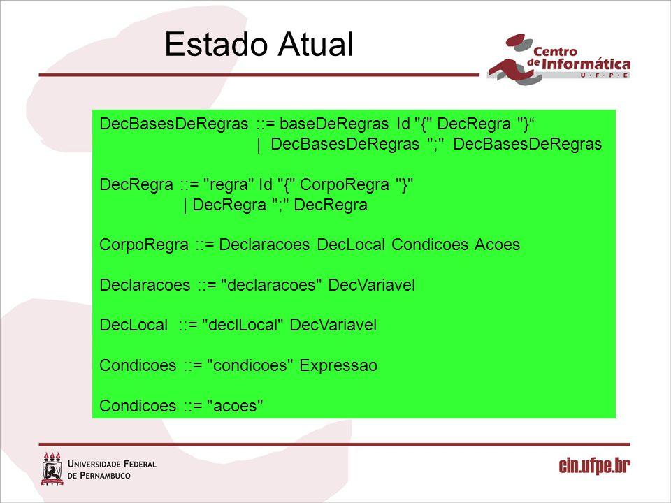 Estado Atual DecBasesDeRegras ::= baseDeRegras Id { DecRegra } | DecBasesDeRegras ; DecBasesDeRegras DecRegra ::= regra Id { CorpoRegra } | DecRegra ; DecRegra CorpoRegra ::= Declaracoes DecLocal Condicoes Acoes Declaracoes ::= declaracoes DecVariavel DecLocal ::= declLocal DecVariavel Condicoes ::= condicoes Expressao Condicoes ::= acoes