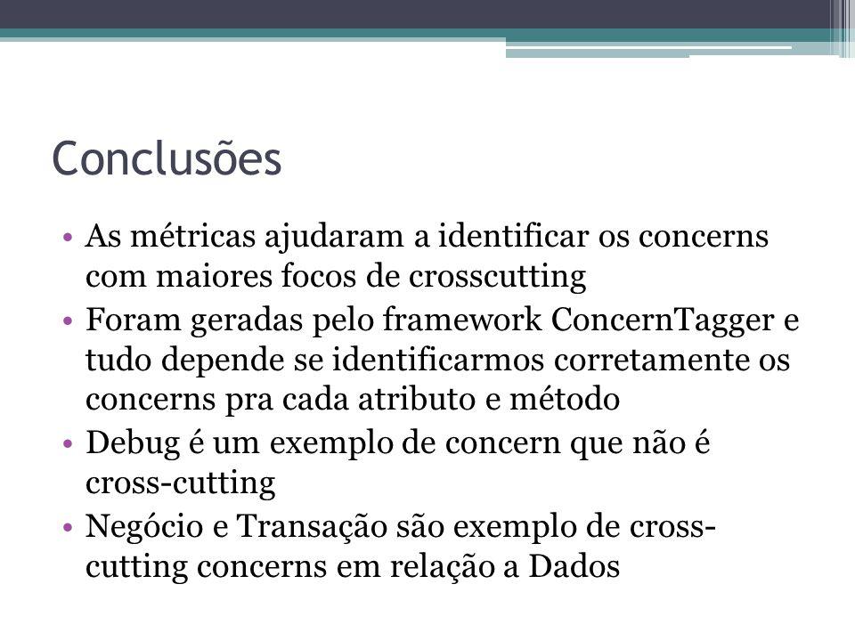 Conclusões As métricas ajudaram a identificar os concerns com maiores focos de crosscutting Foram geradas pelo framework ConcernTagger e tudo depende