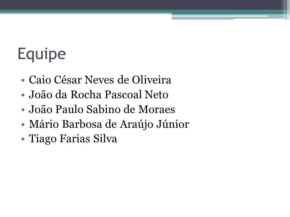 Equipe Caio César Neves de Oliveira João da Rocha Pascoal Neto João Paulo Sabino de Moraes Mário Barbosa de Araújo Júnior Tiago Farias Silva