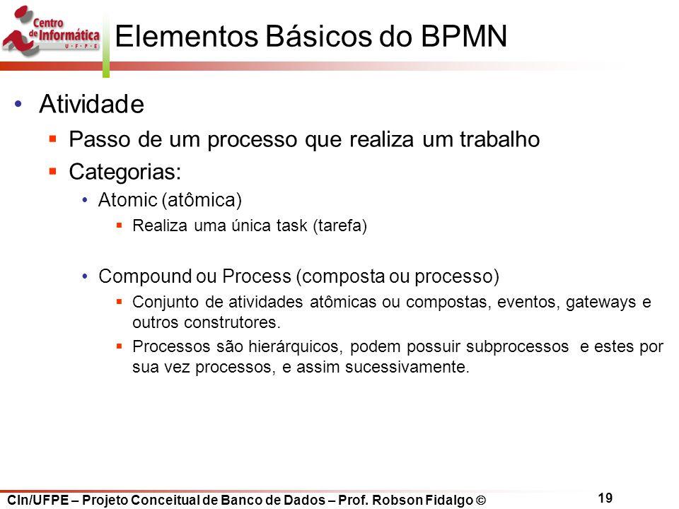 CIn/UFPE – Projeto Conceitual de Banco de Dados – Prof. Robson Fidalgo  19 Elementos Básicos do BPMN Atividade  Passo de um processo que realiza um
