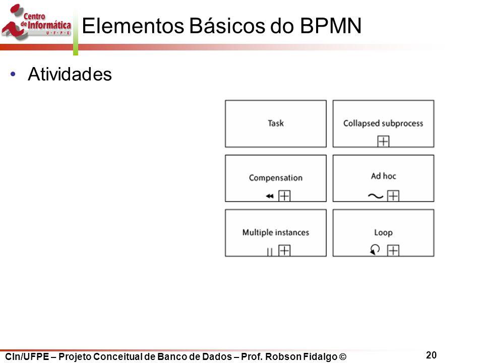 CIn/UFPE – Projeto Conceitual de Banco de Dados – Prof. Robson Fidalgo  20 Elementos Básicos do BPMN Atividades