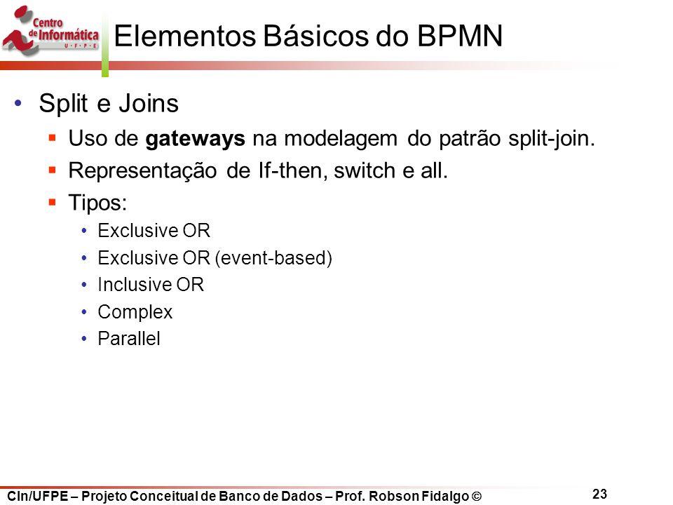 CIn/UFPE – Projeto Conceitual de Banco de Dados – Prof. Robson Fidalgo  23 Elementos Básicos do BPMN Split e Joins  Uso de gateways na modelagem do