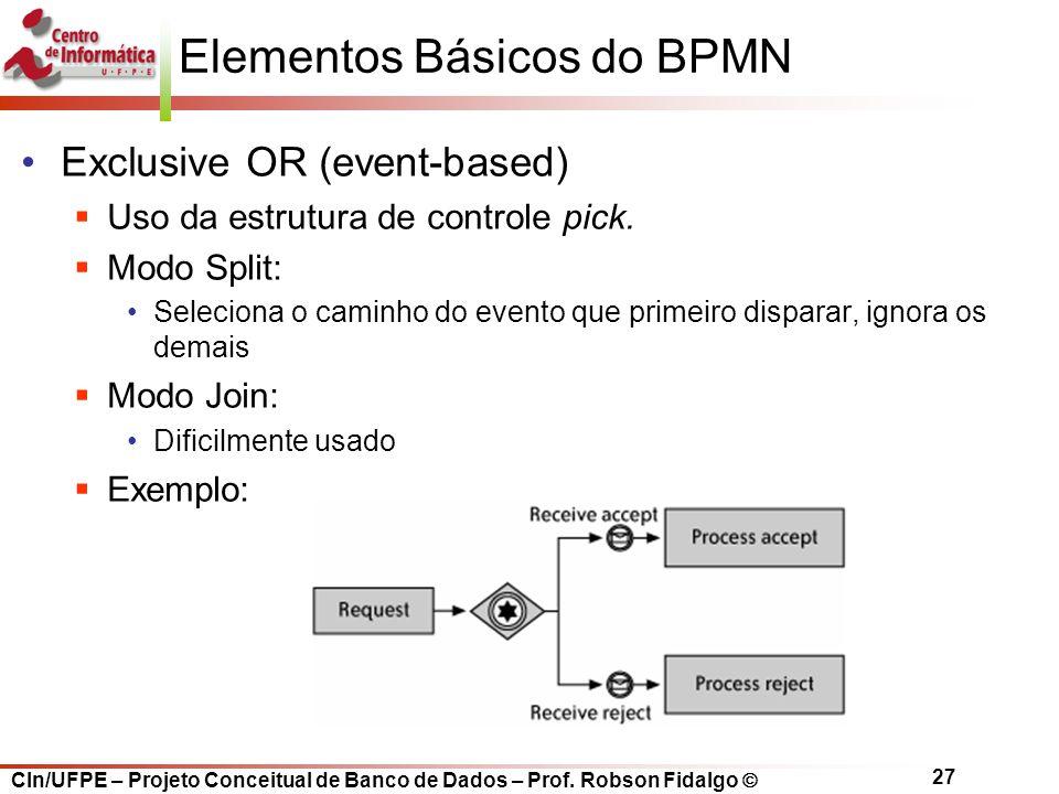 CIn/UFPE – Projeto Conceitual de Banco de Dados – Prof. Robson Fidalgo  27 Elementos Básicos do BPMN Exclusive OR (event-based)  Uso da estrutura de