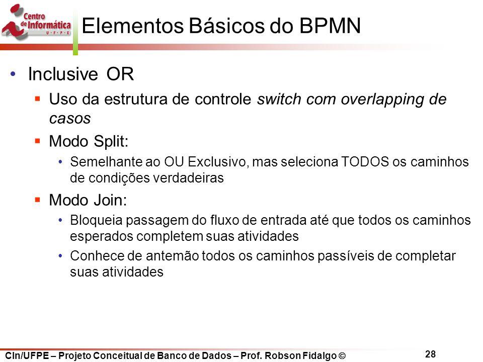 CIn/UFPE – Projeto Conceitual de Banco de Dados – Prof. Robson Fidalgo  28 Elementos Básicos do BPMN Inclusive OR  Uso da estrutura de controle swit