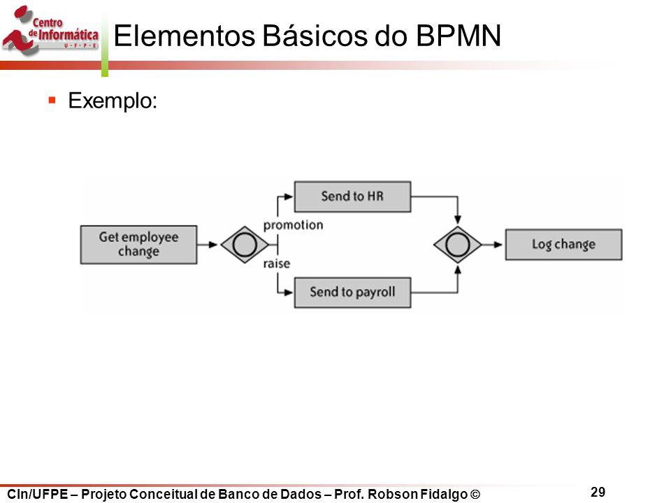 CIn/UFPE – Projeto Conceitual de Banco de Dados – Prof. Robson Fidalgo  29 Elementos Básicos do BPMN  Exemplo: