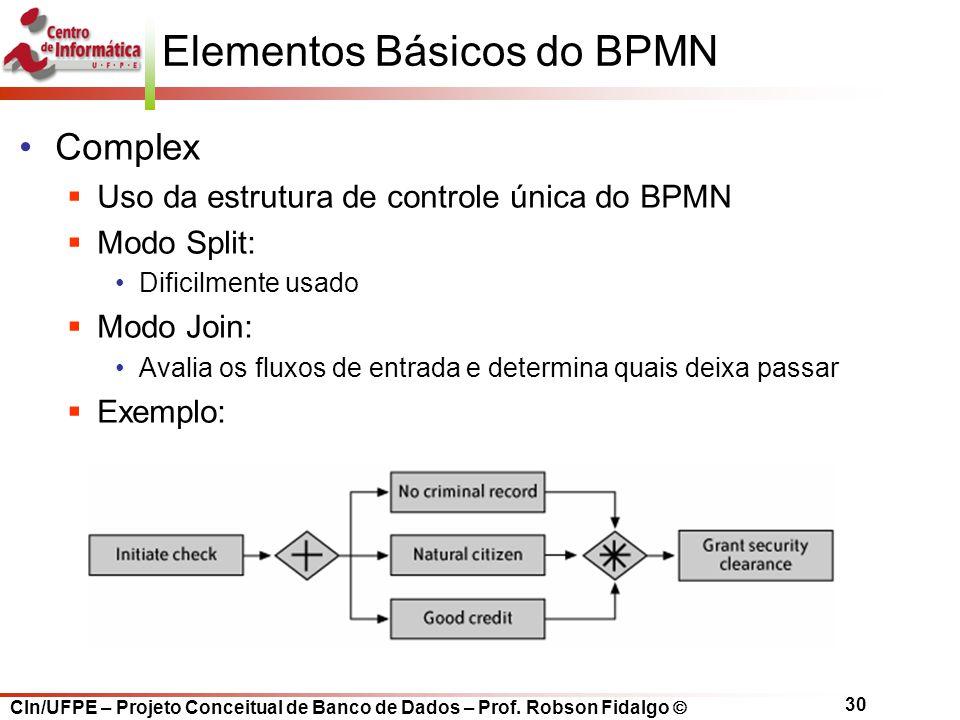 CIn/UFPE – Projeto Conceitual de Banco de Dados – Prof. Robson Fidalgo  30 Complex  Uso da estrutura de controle única do BPMN  Modo Split: Dificil