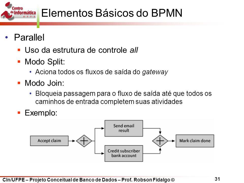 CIn/UFPE – Projeto Conceitual de Banco de Dados – Prof. Robson Fidalgo  31 Elementos Básicos do BPMN Parallel  Uso da estrutura de controle all  Mo