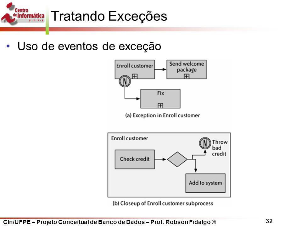 CIn/UFPE – Projeto Conceitual de Banco de Dados – Prof. Robson Fidalgo  32 Tratando Exceções Uso de eventos de exceção