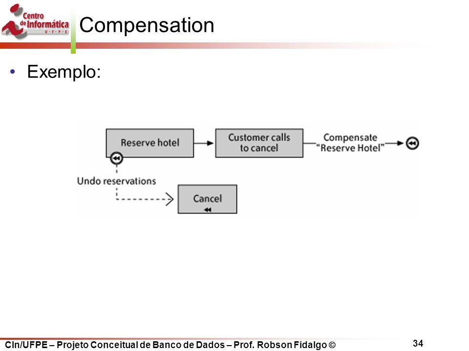 CIn/UFPE – Projeto Conceitual de Banco de Dados – Prof. Robson Fidalgo  34 Compensation Exemplo: