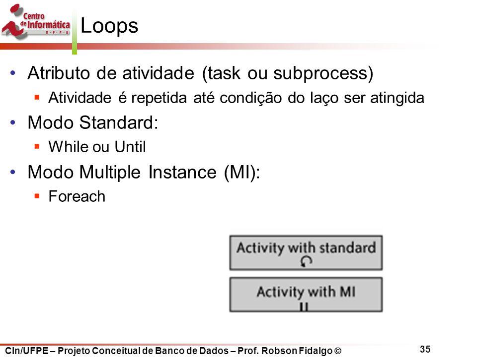 CIn/UFPE – Projeto Conceitual de Banco de Dados – Prof. Robson Fidalgo  35 Loops Atributo de atividade (task ou subprocess)  Atividade é repetida at