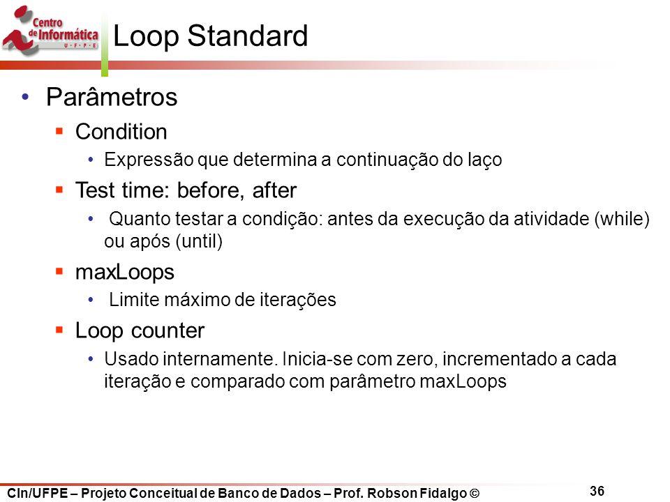 CIn/UFPE – Projeto Conceitual de Banco de Dados – Prof. Robson Fidalgo  36 Loop Standard Parâmetros  Condition Expressão que determina a continuação