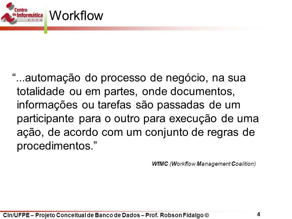 """CIn/UFPE – Projeto Conceitual de Banco de Dados – Prof. Robson Fidalgo  4 Workflow """"...automação do processo de negócio, na sua totalidade ou em part"""