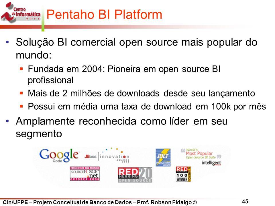 CIn/UFPE – Projeto Conceitual de Banco de Dados – Prof. Robson Fidalgo  45 Pentaho BI Platform Solução BI comercial open source mais popular do mundo