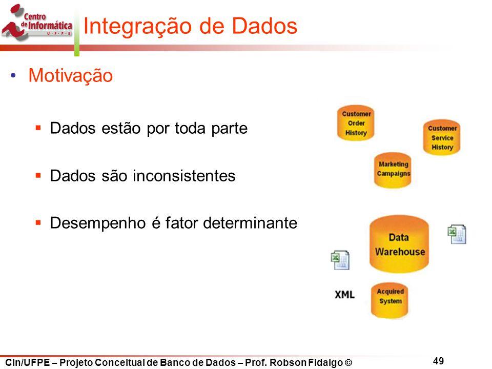 CIn/UFPE – Projeto Conceitual de Banco de Dados – Prof. Robson Fidalgo  49 Motivação  Dados estão por toda parte  Dados são inconsistentes  Desemp