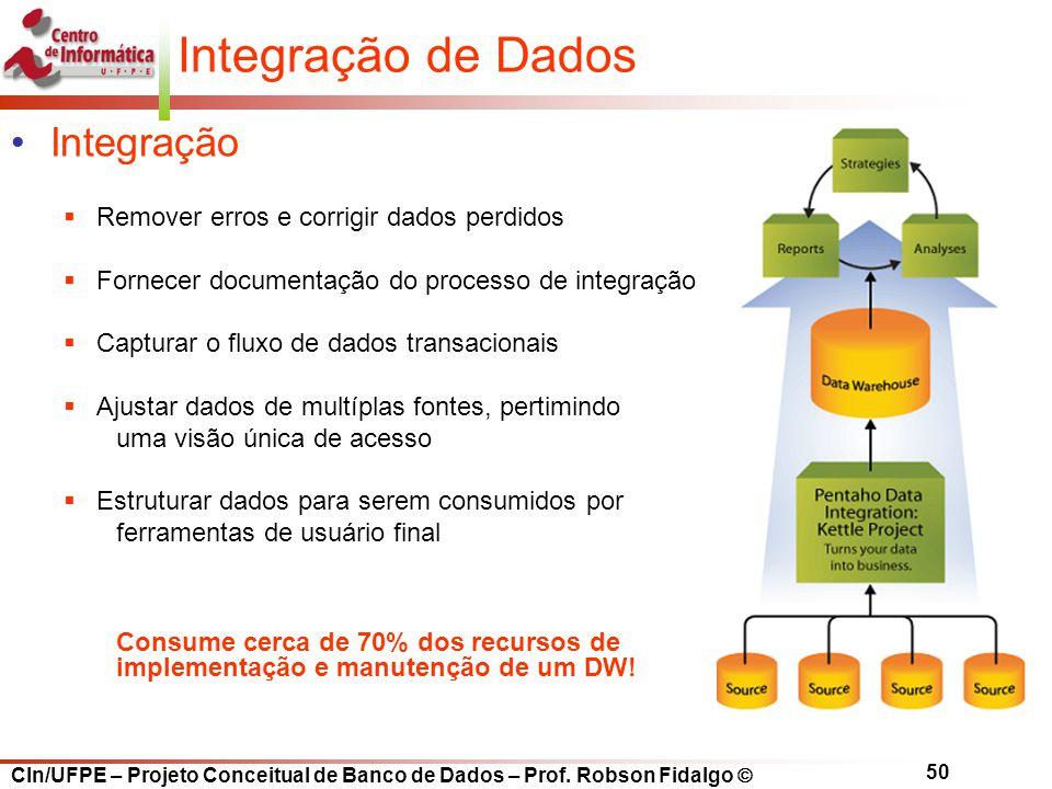 CIn/UFPE – Projeto Conceitual de Banco de Dados – Prof. Robson Fidalgo  50 Integração de Dados Integração  Remover erros e corrigir dados perdidos 