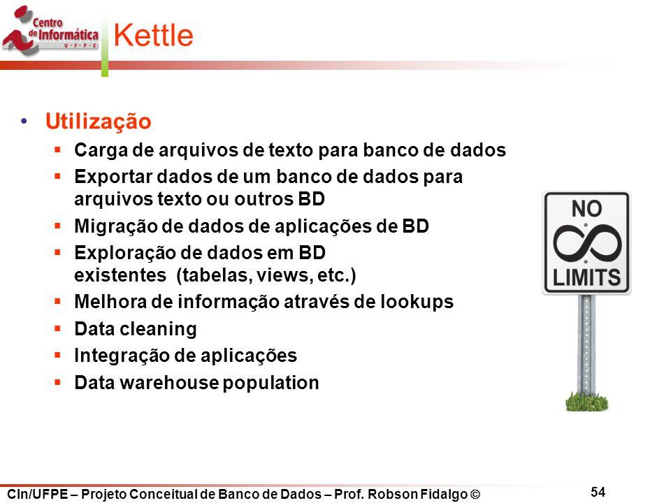 CIn/UFPE – Projeto Conceitual de Banco de Dados – Prof. Robson Fidalgo  54 Kettle Utilização  Carga de arquivos de texto para banco de dados  Expor