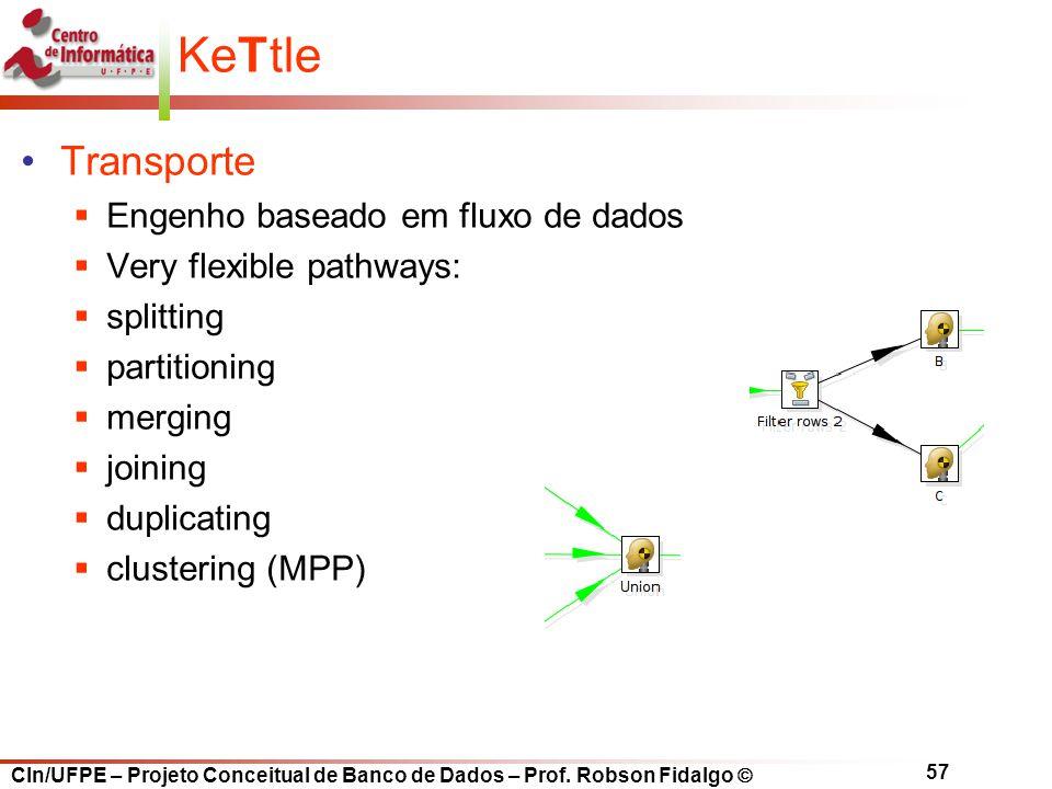 CIn/UFPE – Projeto Conceitual de Banco de Dados – Prof. Robson Fidalgo  57 KeTtle Transporte  Engenho baseado em fluxo de dados  Very flexible path