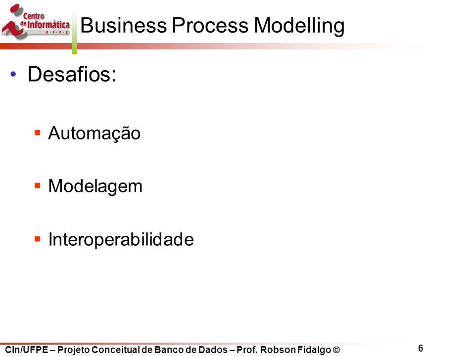 CIn/UFPE – Projeto Conceitual de Banco de Dados – Prof. Robson Fidalgo  6 Business Process Modelling Desafios:  Automação  Modelagem  Interoperabi
