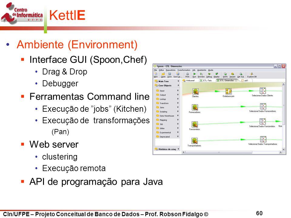 CIn/UFPE – Projeto Conceitual de Banco de Dados – Prof. Robson Fidalgo  60 KettlE Ambiente (Environment)  Interface GUI (Spoon,Chef) Drag & Drop Deb