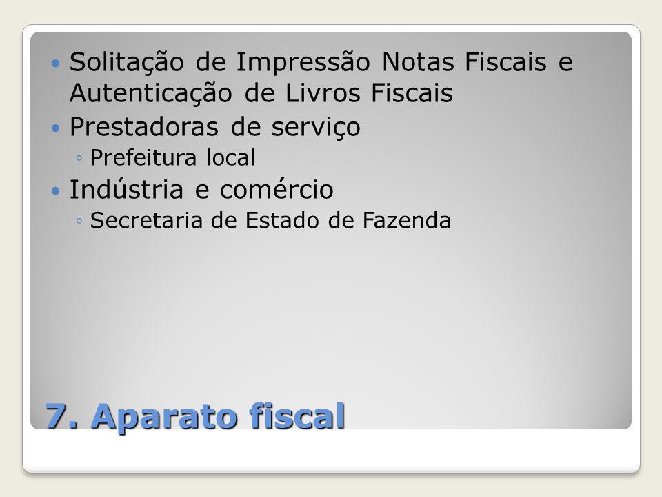 7. Aparato fiscal Solitação de Impressão Notas Fiscais e Autenticação de Livros Fiscais Prestadoras de serviço ◦Prefeitura local Indústria e comércio