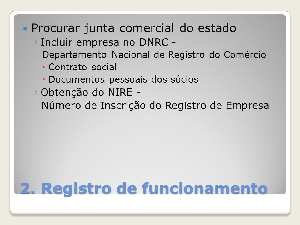 2. Registro de funcionamento Procurar junta comercial do estado ◦Incluir empresa no DNRC - Departamento Nacional de Registro do Comércio  Contrato so