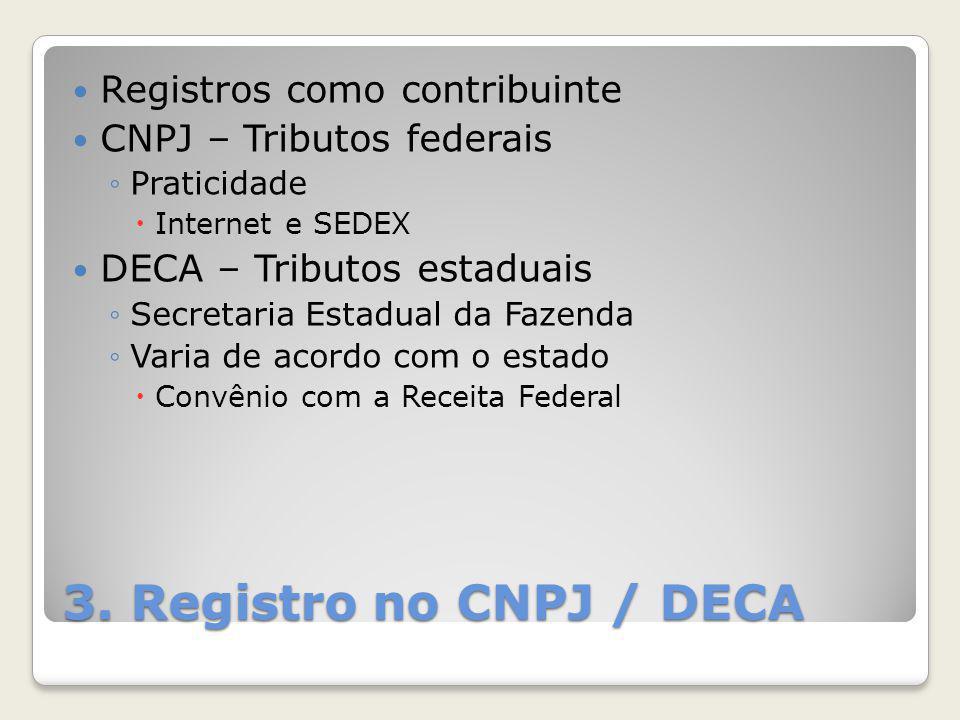 3. Registro no CNPJ / DECA Registros como contribuinte CNPJ – Tributos federais ◦Praticidade  Internet e SEDEX DECA – Tributos estaduais ◦Secretaria
