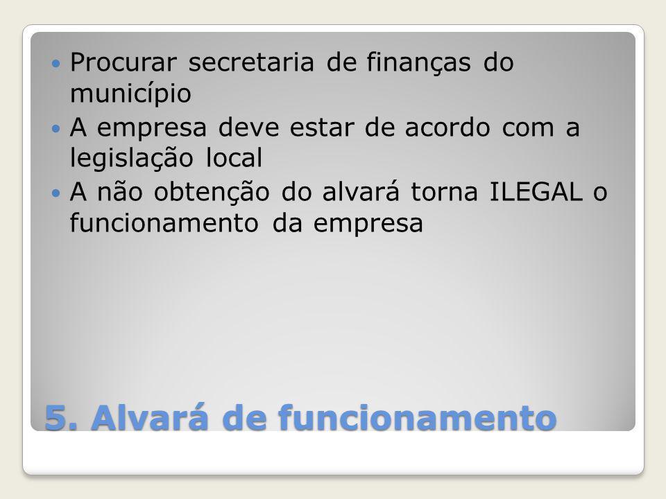 5. Alvará de funcionamento Procurar secretaria de finanças do município A empresa deve estar de acordo com a legislação local A não obtenção do alvará